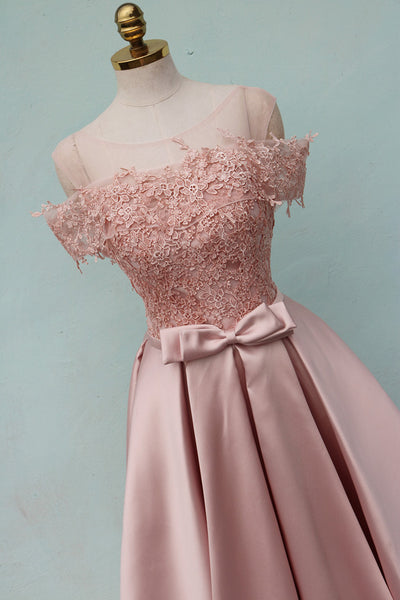 Pink Off Shoulder Satin Long with Lace Top Formal Dress, Elegant Party Dress New Style Prom 2019