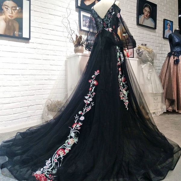 Black Long Sleeves Floor Length Formal Dress, Charming Party Dress