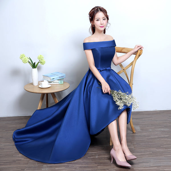 Blue High Low Homecoming Dress, Simple Satin Lace-up Formal Dress