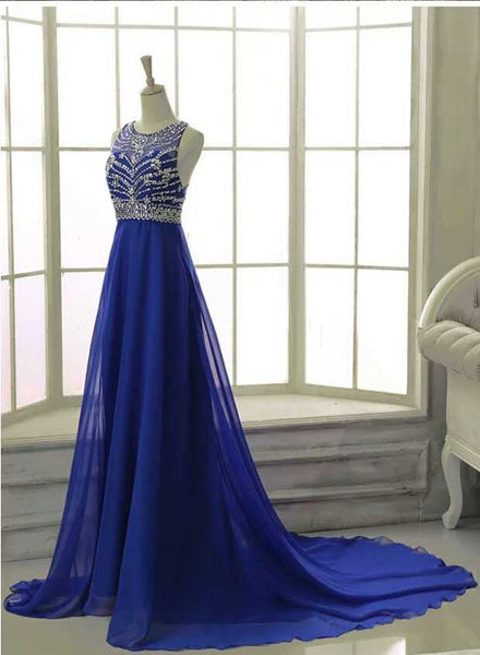 Royal Blue Chiffon Beaded Party Dress, Lovely Formal Gowns, Prom Dress 2019