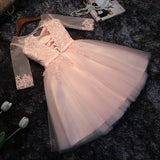 Light Pink Short Sleeves Lace Party Dress, Pink Bridesmaid Dresses, Cute Junior Prom Dress