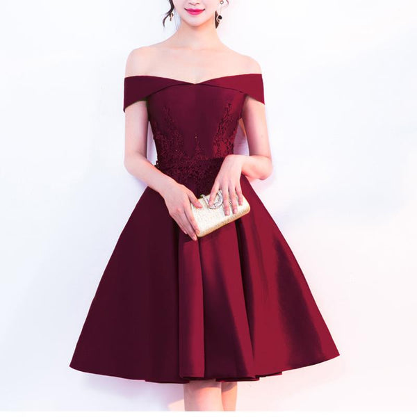 Satin Off Shoulder Simple Homecoming Dress with Lace, Satin Party Dresses 2019