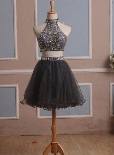 Gorgeous Two Piece Homecoming Dresses, Grey Party Dress, Homecoming Dress 2018