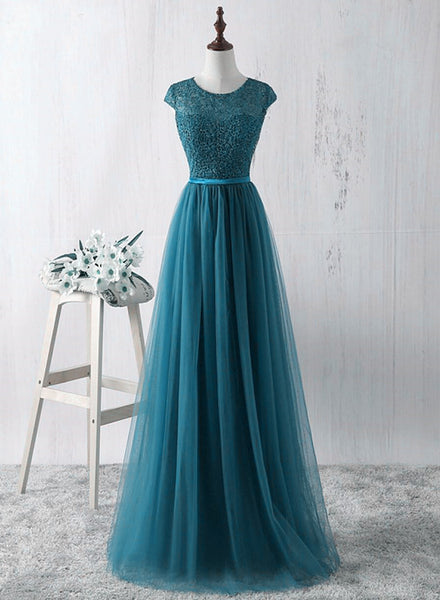 Simple Teal Blue Lace and Tulle Bridesmaid Dresss, Long Prom Dress, Party Dress