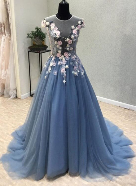Charming Tulle Floral Gown, Floral Junior Prom Dresses 2018, Formal Dresses, Party Dresses