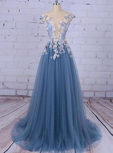 Elegant Tulle Floral Prom Gowns, Charming Evening Formal Dresses,s Party Dresses