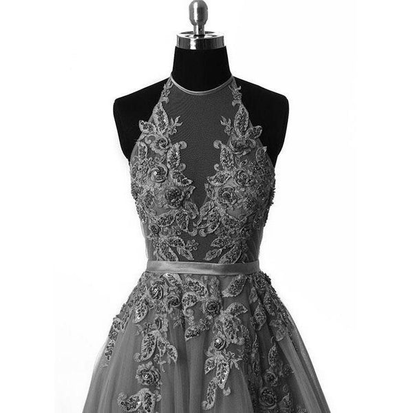 Grey Halter Lace Applique Tulle Formal Gowns, Grey Party Dresses, Prom Gowns, Formal Dresses