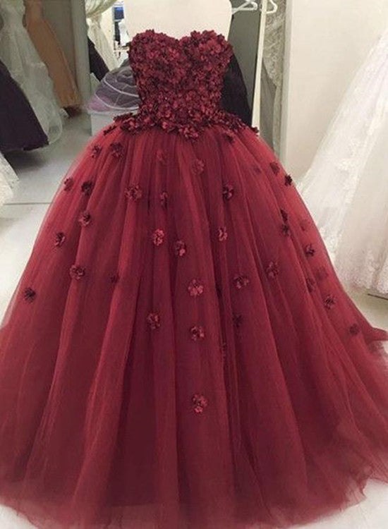 Gorgeous Handmade Tulle Wine Red Ball Gown Formal Dresses with ...