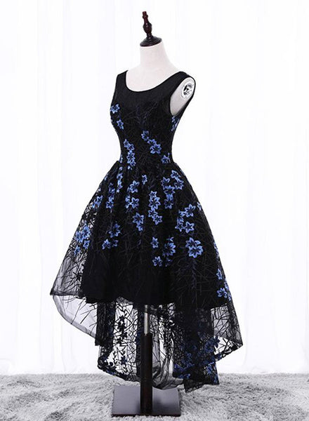 Black Elegant High Low Party Dresses, Beautiful Homecoming Dresses, Floral Formal Dress 2018
