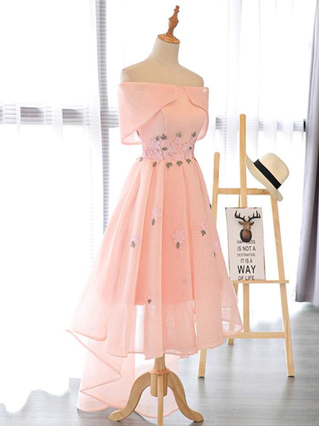 Lovely High Low Tulle Party Gown with Flowers, Cute Prom Dresses