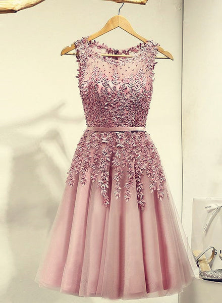Pink Knee Length Prom Dress, Cute Homecoming Dresses 2018, Tulle Party Dresses