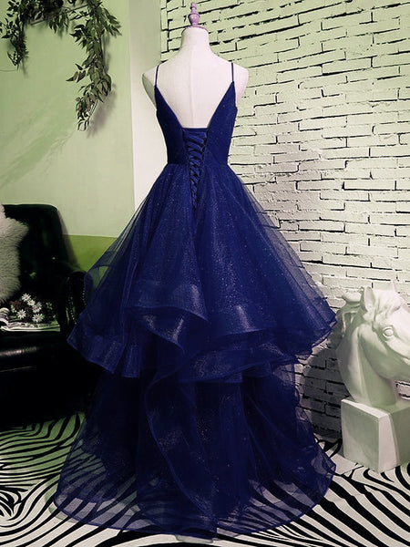 Charming Spaghetti Strps Navy Blue Prom Dress 2021, Tulle Layers Long Evening Gown