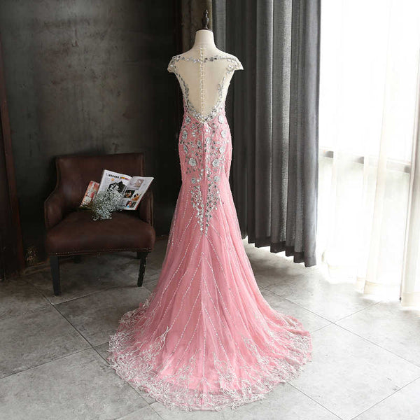 Pink Lace Mermaid Sequins with Lace Applique Party Dress, Pink Long Prom Dress Party Dress