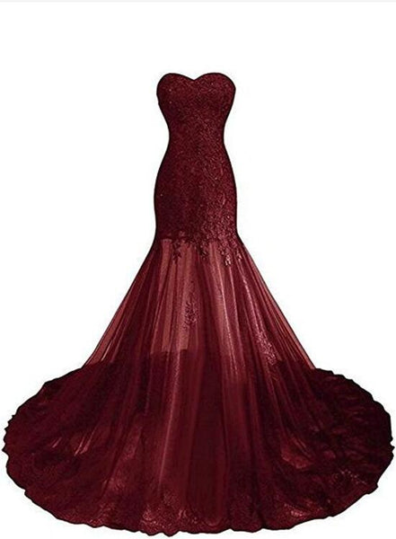 Burgundy Tulle with Beautiful Lace Applique Sweetheart Prom Gown, Chic Prom Dresses 2018, Party Dresses