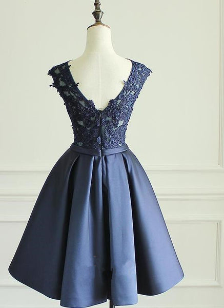 Navy Blue Knee Length Homecoming Dresses, Short Graduation Dress For Party, Prom Dress