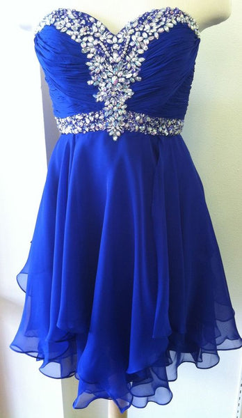 Blue Beaded Charming Prom Dresses, Sweetheart Knee Length Homecoming Dresses, Cute Teen Formal Dresses