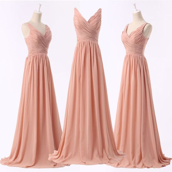 Light Pink Bridesmaid Dresses, Pearl Pink V-neckline Party Dresses, Formal Gowns