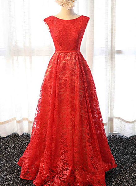 red lace long party dress