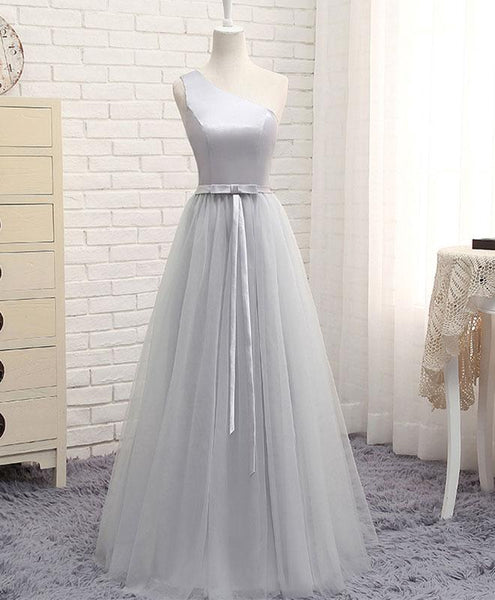 Beautiful Simple One Shoulder Satin and Tulle Floor Length Party Gown, Bridesmaid Dresses