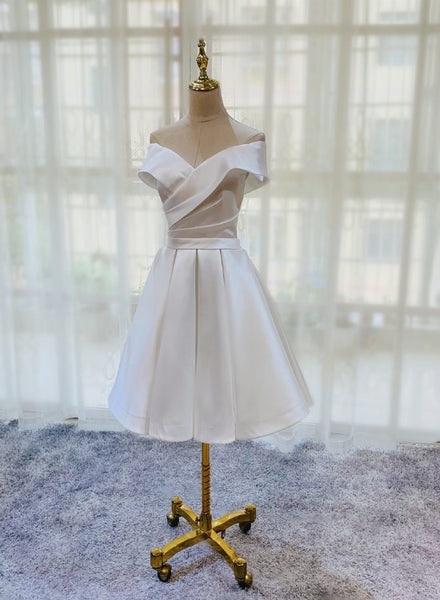 White Simple Satin Off Shoulder Knee Length Party Dress, Graduation Dress Prom Dress