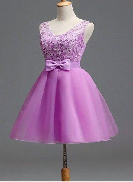 Light Purple Tulle and Lace Cute Party Dress with Bow, Lovely Tulle Party Dress with Lace-up Back