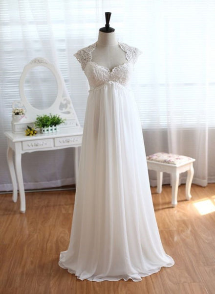 Beautiful Chiffon and Lace Empire Waist Bridal Gown, Beach Wedding Dress 2019