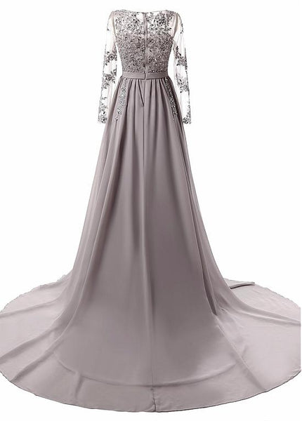 Grey Long Sleeves Applique Chiffon Formal Gowns 2019, Grey Prom Dress 2019, Party Dresses