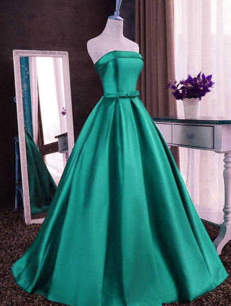 Charming Green Satin Sweet 16 Dress, Long Party Gown
