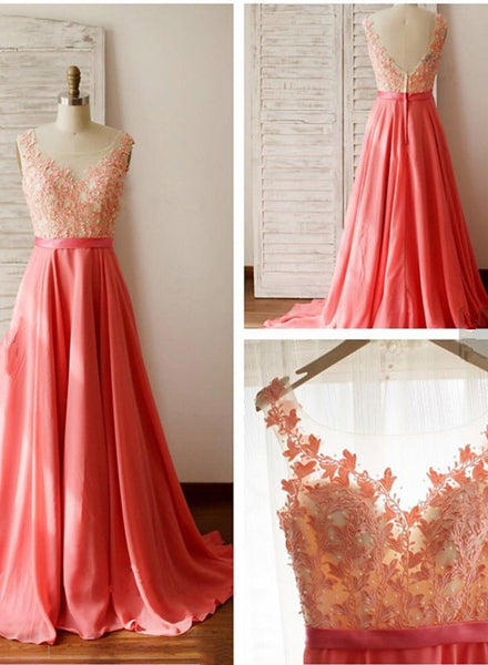 Beautiful Chiffon Lace Applique Prom Dress 2018, Charming Junior Prom Dresses, Party Dresses