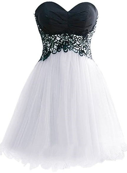 Cute White Tulle Short Sweetheart Graduation Party Dresses, Lovely Formal Dress 2018, Homecoming Dress