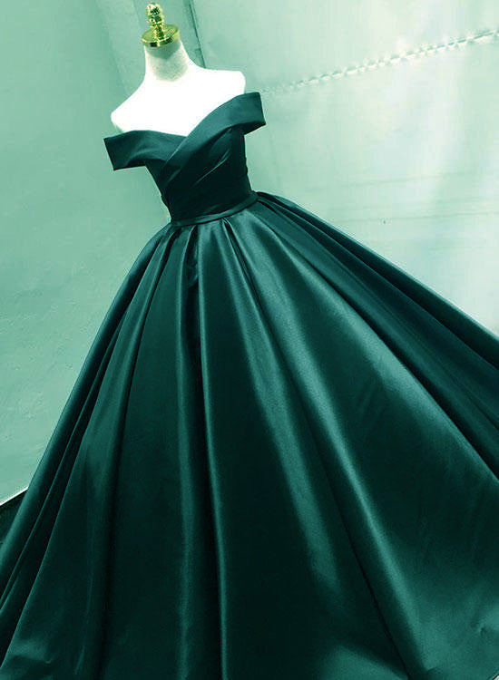a738e684215 Green Satin Off Shoulder Prom Gowns