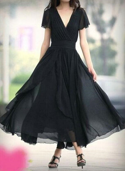 Black Chiffon Short Sleeves V-neckline Bridesmaid Dresses, Black Evening Dresses, Prom Dresses