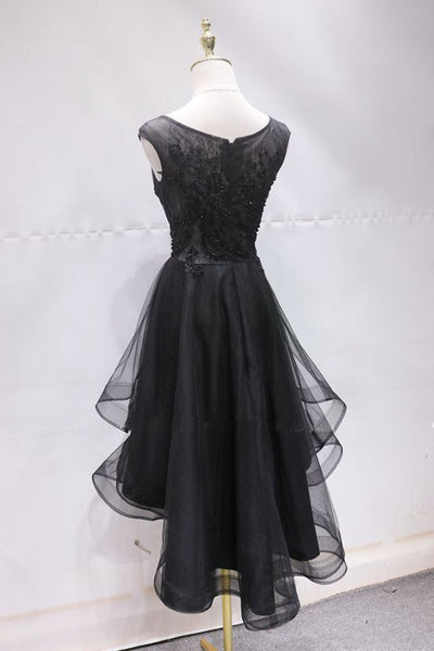 Charming Black Tulle Homecoming Dress, Prom Dress With Applique 2019