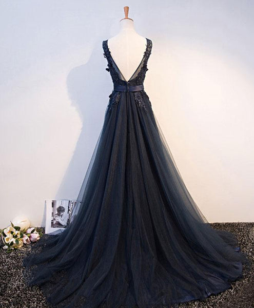 Navy Blue Long V-neckline Floor Length Handmade Formal Gowns, Blue Wedding Formal Dresses, Evening Gowns