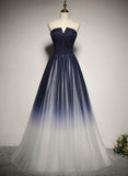navy blue gradient party dress