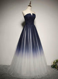 Charming Navy Blue Gradient Bridesmaid Dress, Tulle A-line Party Dress