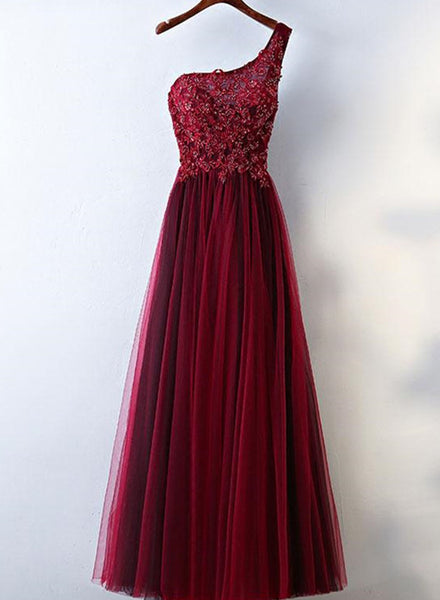 One Shoulder Burgundy Party Gowns, Charming Formal Gowns, Prom Dress 2018