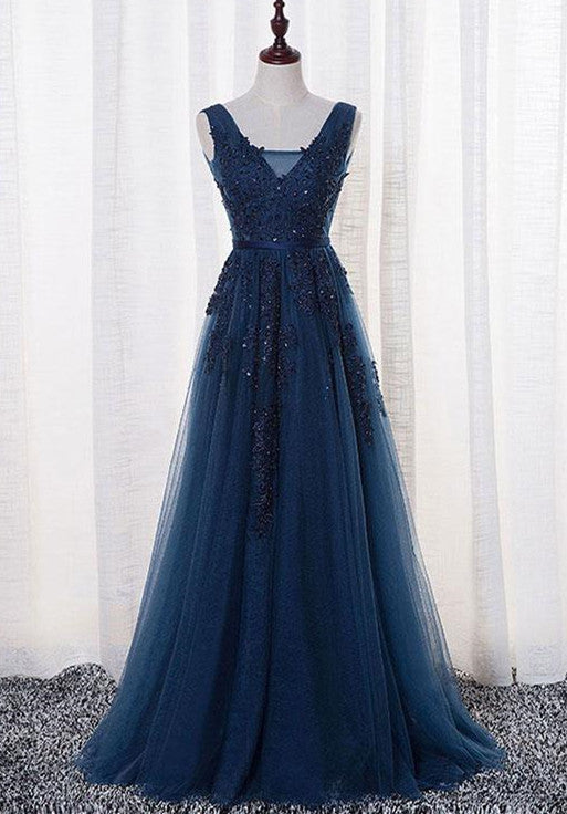 Navy Blue Elegant Prom Dresses V Neckline Long Formal Dresses