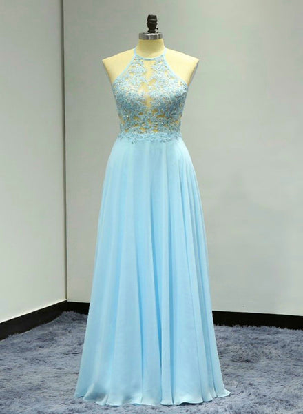 Light Blue Floor Length Halter Beaded Backless Party Dresses, A-line Formal Dresses