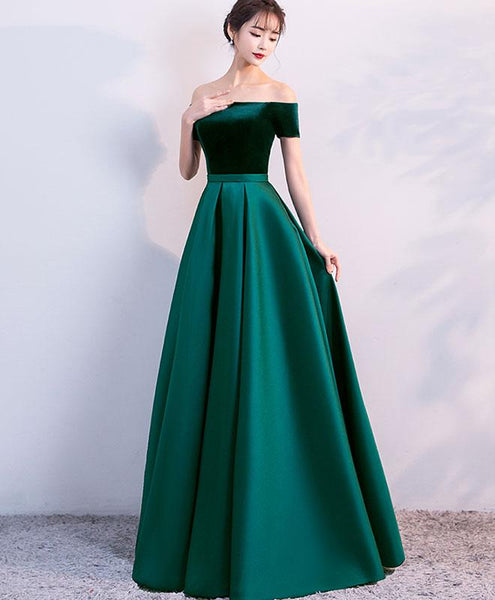 Elegant Velvet and Satin Off Shoulder Floor Length Party Dress, Blue Evening Gowns, Party Dress 2019