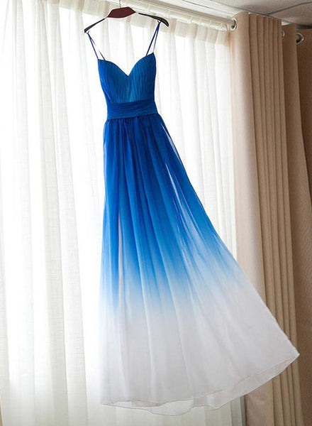Blue Elegant Gradient Strap Long Prom Dresses, Bridesmaid Dresses, Formal Dresses 2018