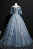 Charming Tulle Puffy Sleeves Long Formal Gown, Prom Dress 2020