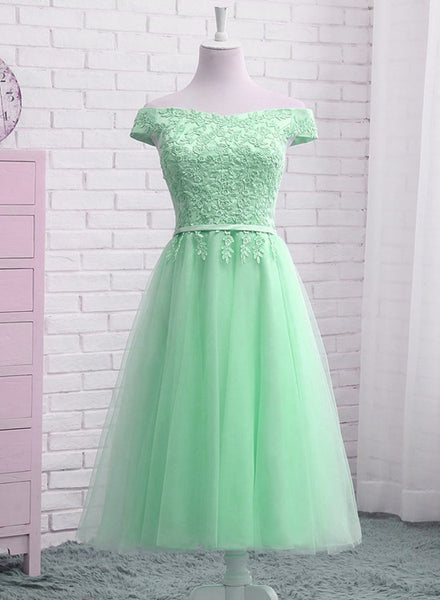Beautiful Tulle Tea Length Bridesmaid Dress, Charming Party Dress