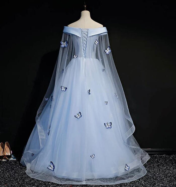 Beautiful Light Blue Ball Gown Lace-up Party Dress, Blue Prom Dress 2021