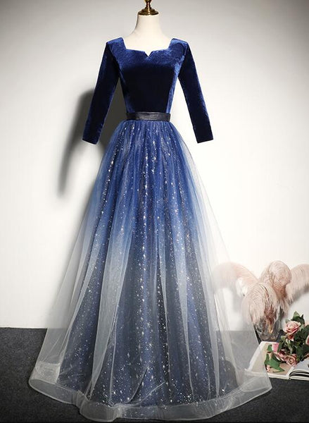 Beautiful Tulle with Velvet Long Sleeves Prom Dress, New Style Bridesmaid Dress