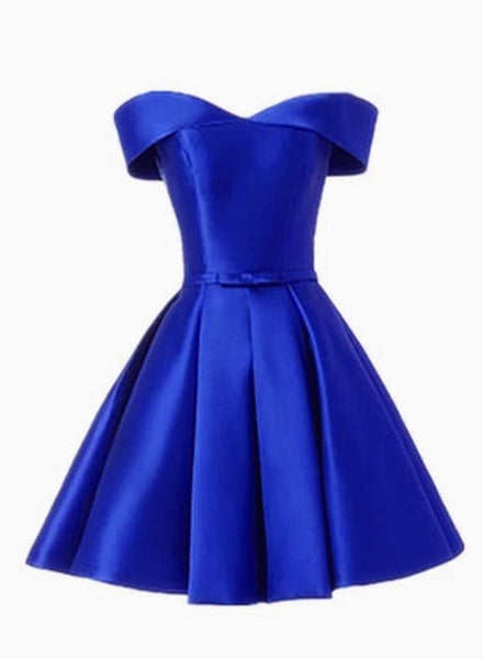 Simple Satin Off Shoulder Short Party Dress, Blue Homecoming Dress Prom Dress