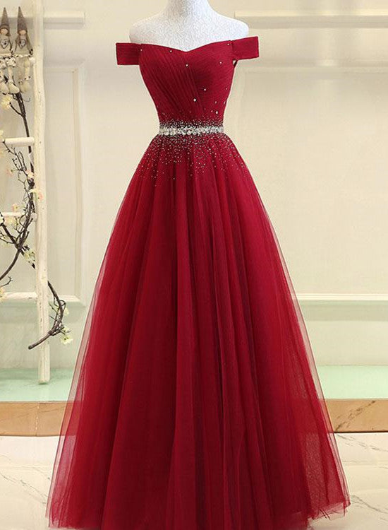 Dark Red Tulle A Line Formal Dress Red Party Gowns Prom Dress 2018