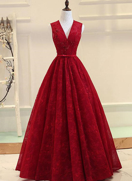 Dark Red Lace Long Formal Gown, V-neckline Party Dress, Prom Dresses 2019