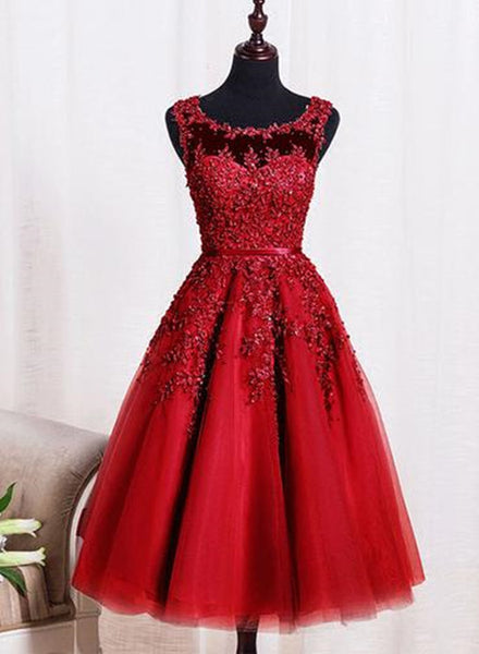 Red Tea Length Round Homecoming Dresses, Lace Applique Red Party Dress, Vintage Style Prom Dress