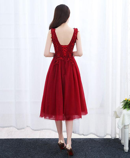 Wine Red Vintage Tea Length Homecoming Dresses, Charming Tulle V-neckline Party Dresses
